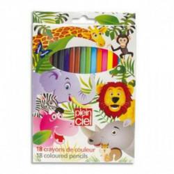 PLEIN CIEL Pochette de 18 crayons de couleur assortis