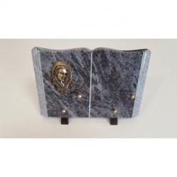 Plaque funéraire granit en forme de livre avec motif en bronze