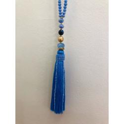 Sautoir perles cristal à pompon fils