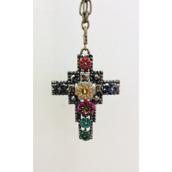 Collier à grosse chaîne - croix pierres & fleurs