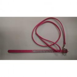 Ensemble collier et laisse rose avec strass pour chien