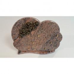 Plaque en granit avec motif en bronze