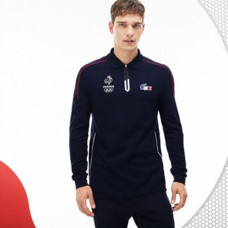 7e7d84a11e Polo à manches longues en piqué lourd Lacoste SPORT Collection France  Olympique