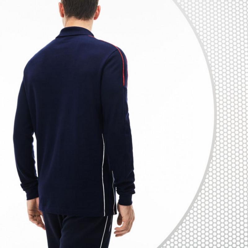 06e47f7c72 ... Polo à manches longues en piqué lourd Lacoste SPORT Collection France  Olympique ...