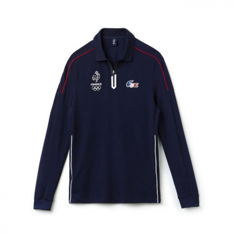 f1a3151d9a ... Polo à manches longues en piqué lourd Lacoste SPORT Collection France  Olympique