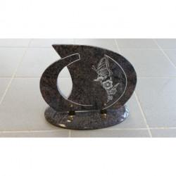 Plaque granit sur socle avec motif pyrogravé